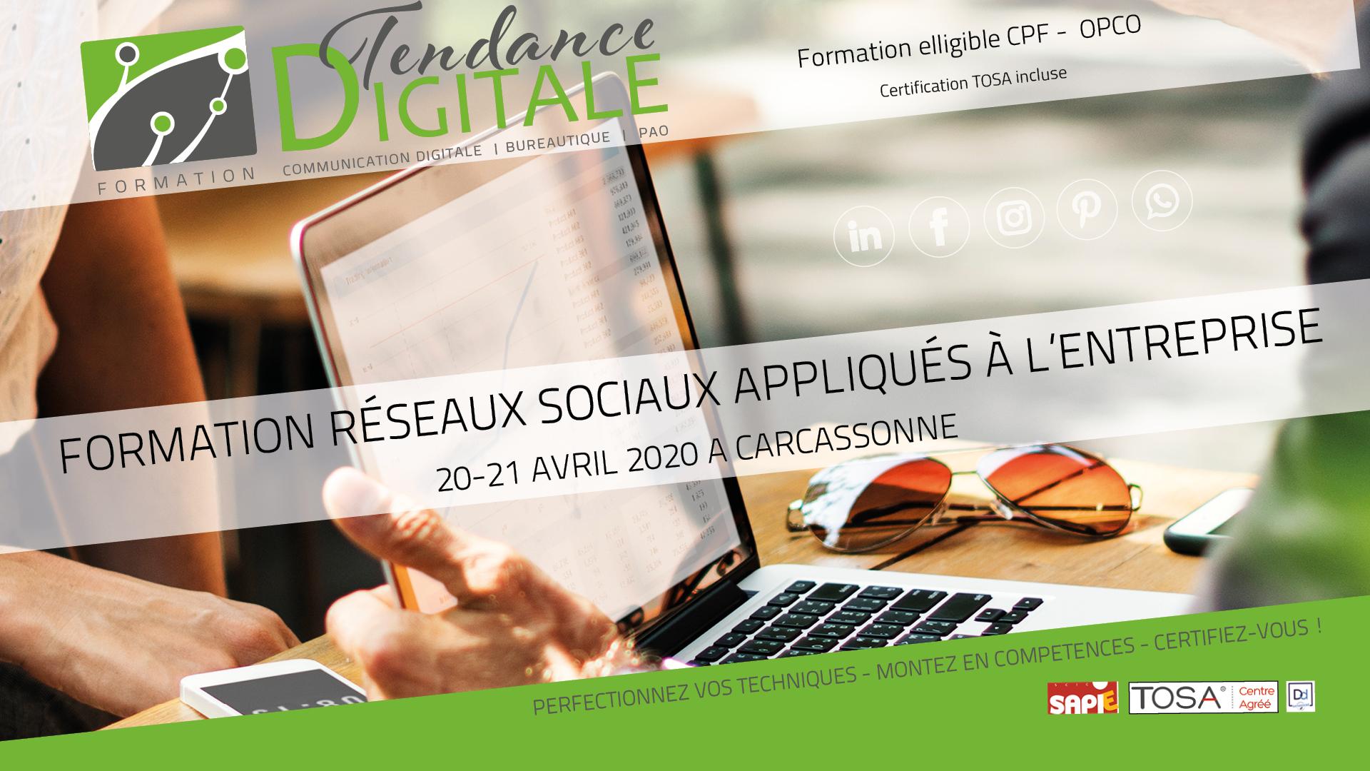Formation Réseaux sociaux appliqués à l'entreprise 20 – 21  avril 2020